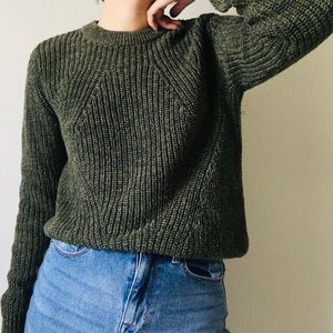Green knit chunky sweater